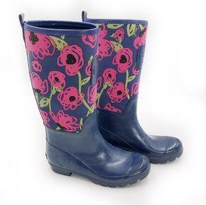 COACH Pearl Rainboots Blue Floral Boots Logo